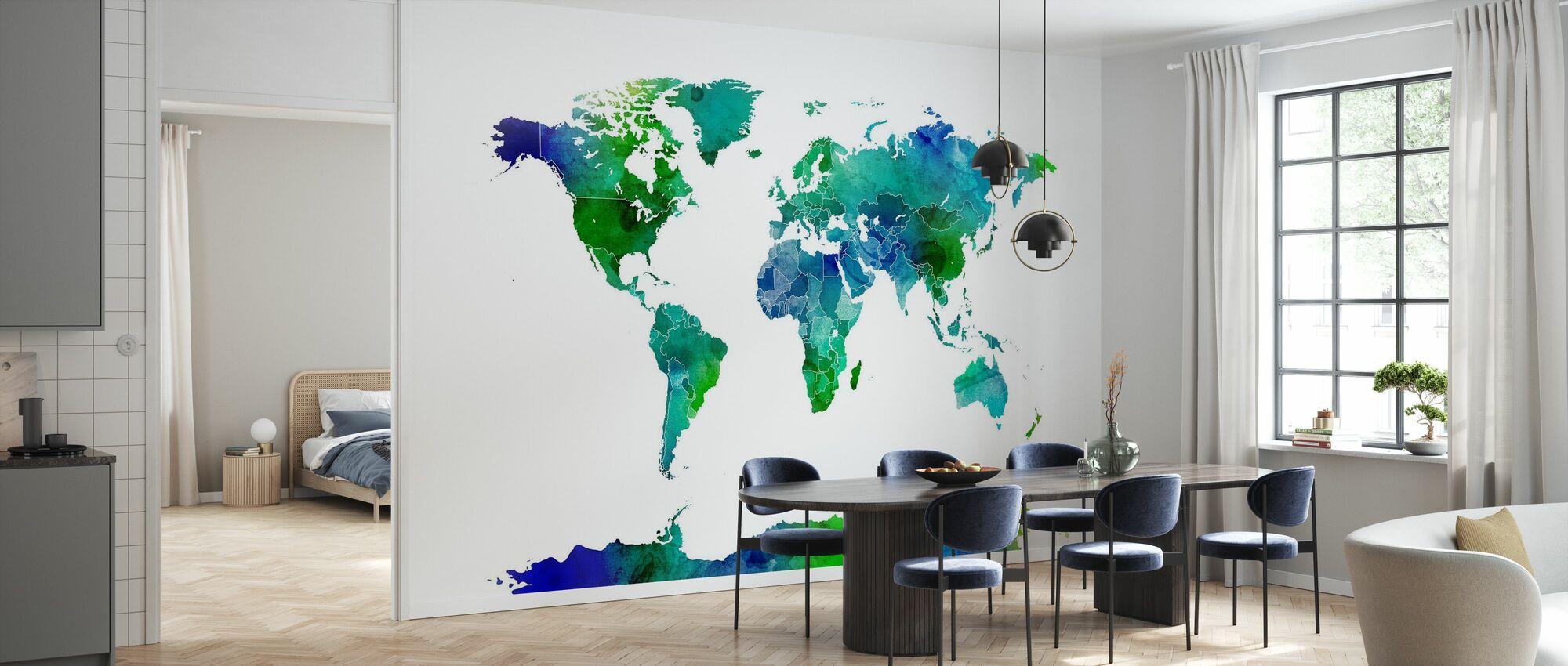 Watercolor World Map Blue & Green - Wallpaper - Kitchen