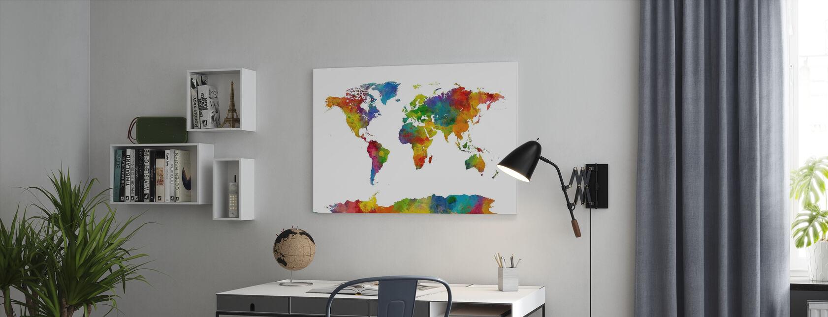 Akwarela Mapa Świata Multicolor 2 - Obraz na płótnie - Biuro
