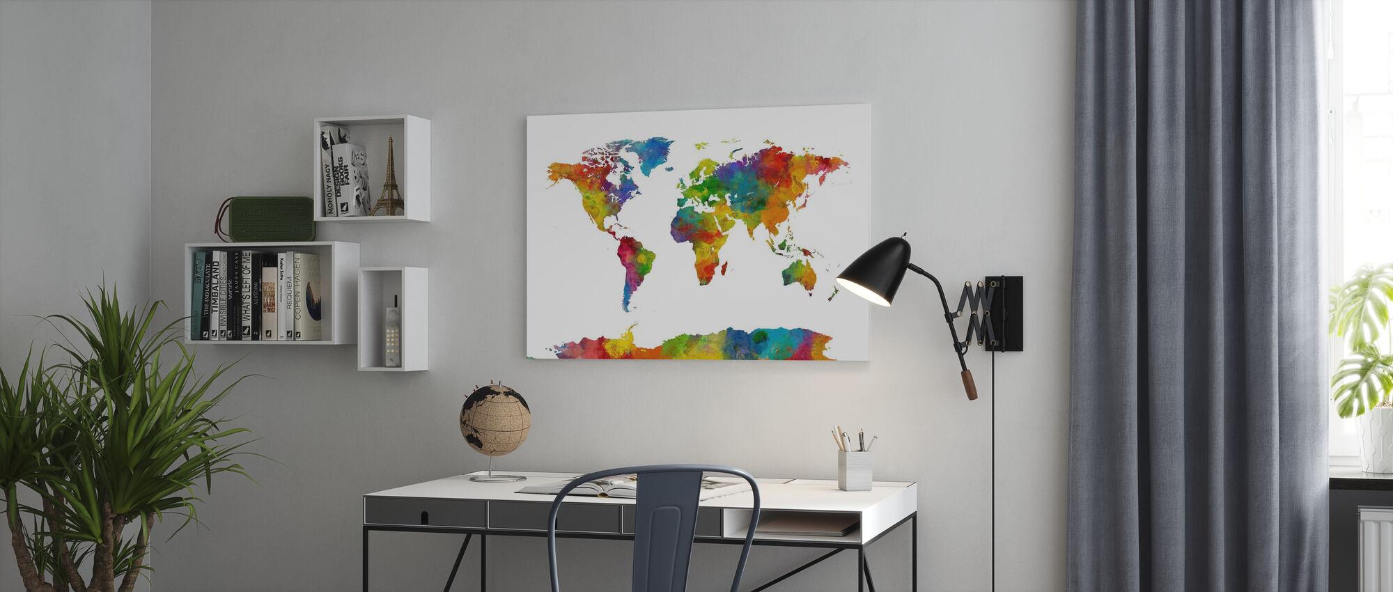 Watercolor World Map Multicolor 2 - Canvas print - Office
