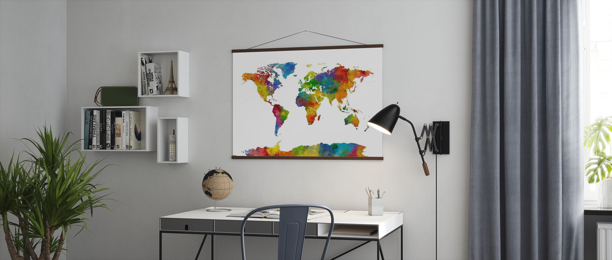 Watercolor World Map Multicolor 2 - Poster - Office