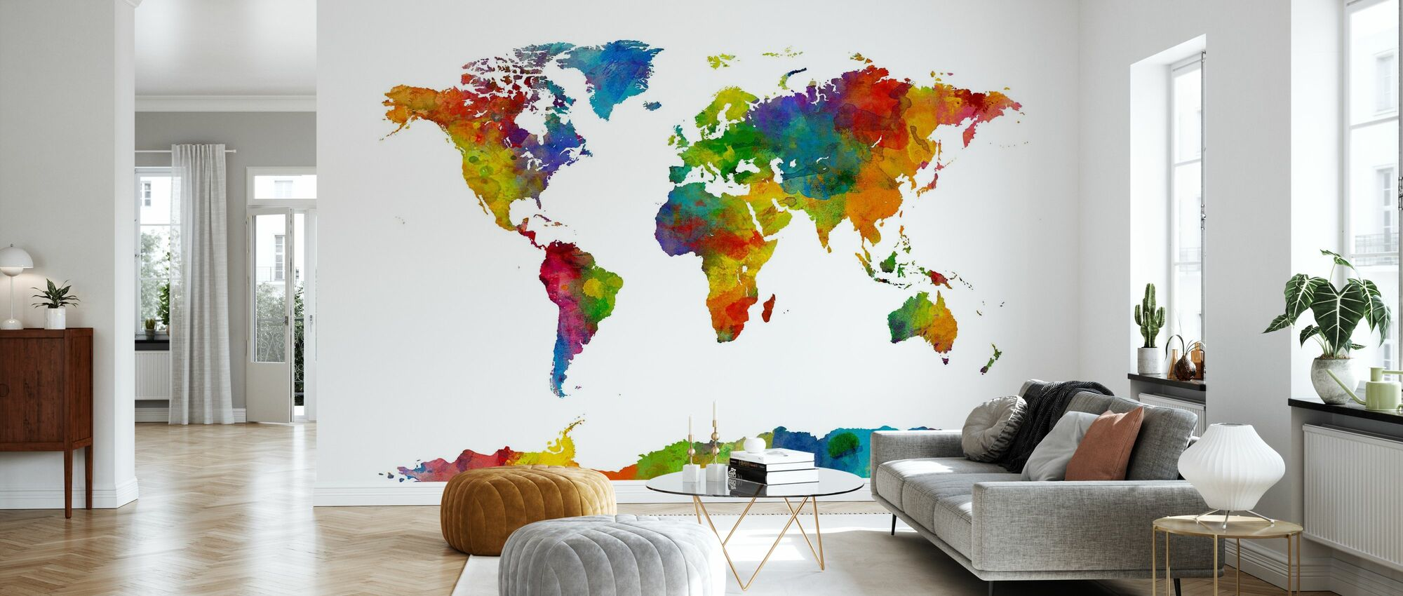 Watercolor World Map Multicolor 2 - Wallpaper - Living Room