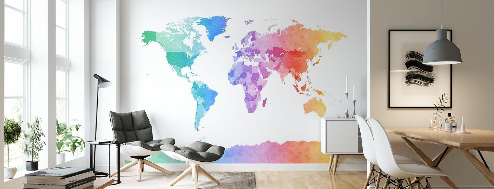 Acquerello mappa del mondo colori tenui - Carta da parati - Salotto