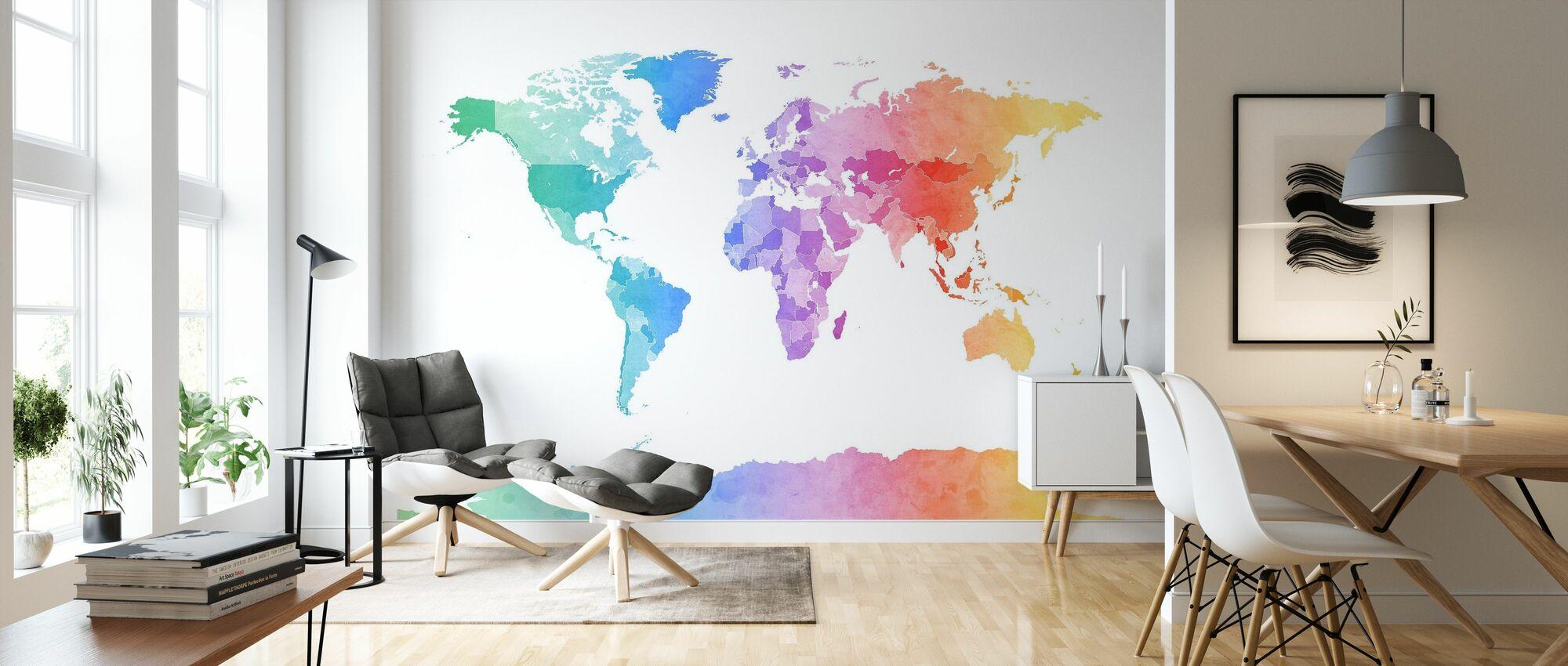 Acuarela Mapa del Mundo Colores Blandos - Papel pintado - Salón