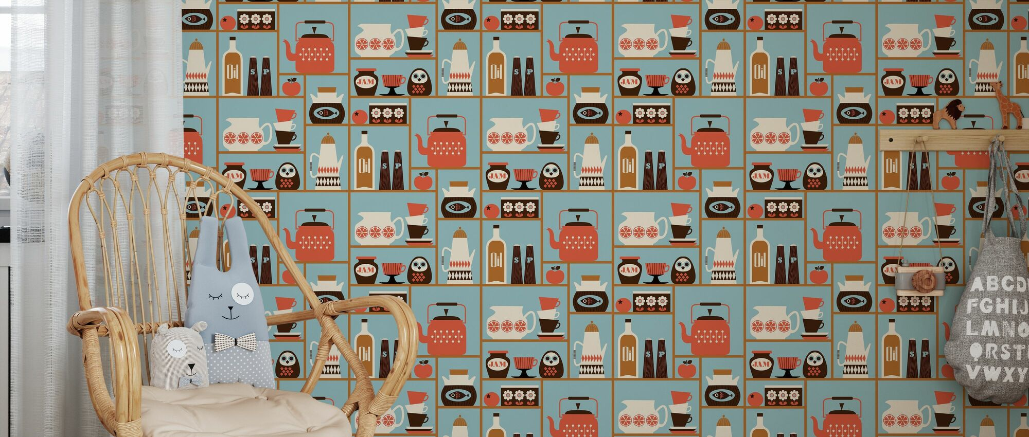 Kitchen Shelves - Light Blue - Wallpaper - Kids Room