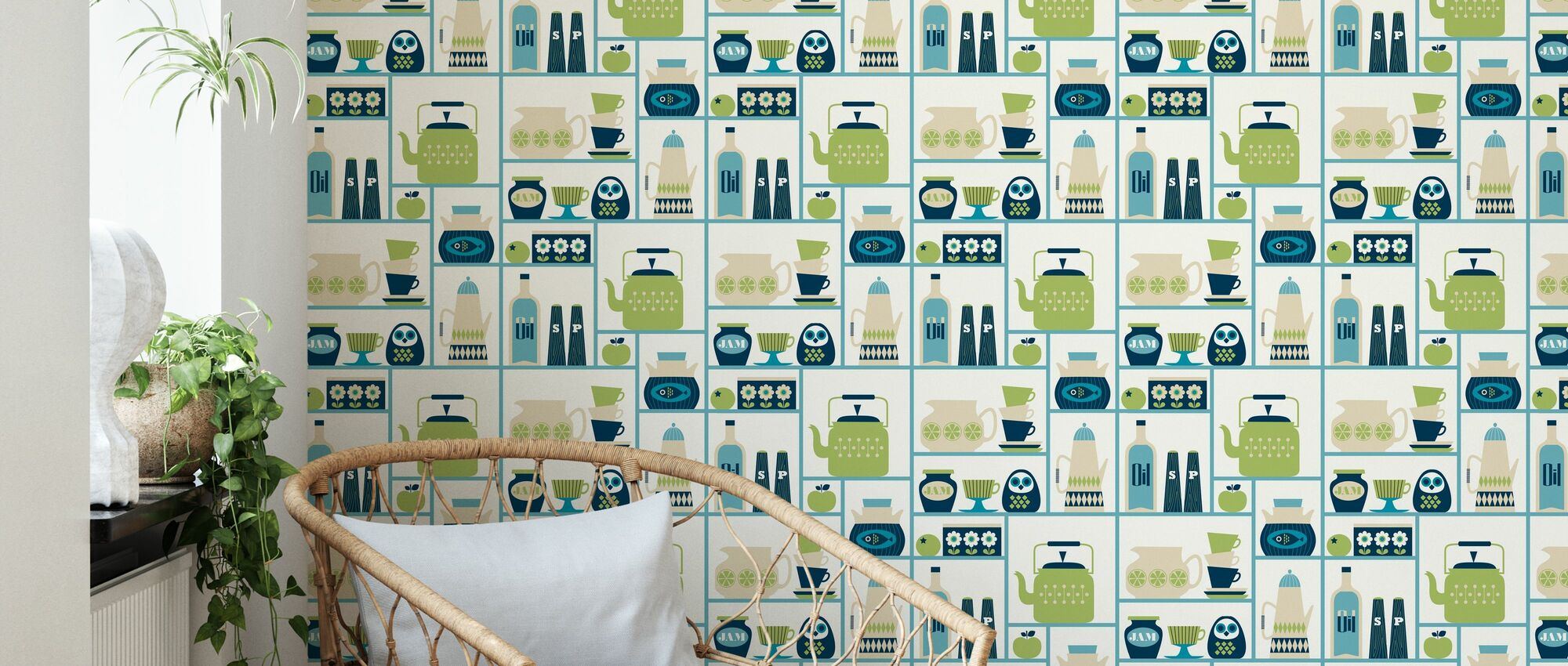 Kitchen Shelves - Light Green - Wallpaper - Living Room