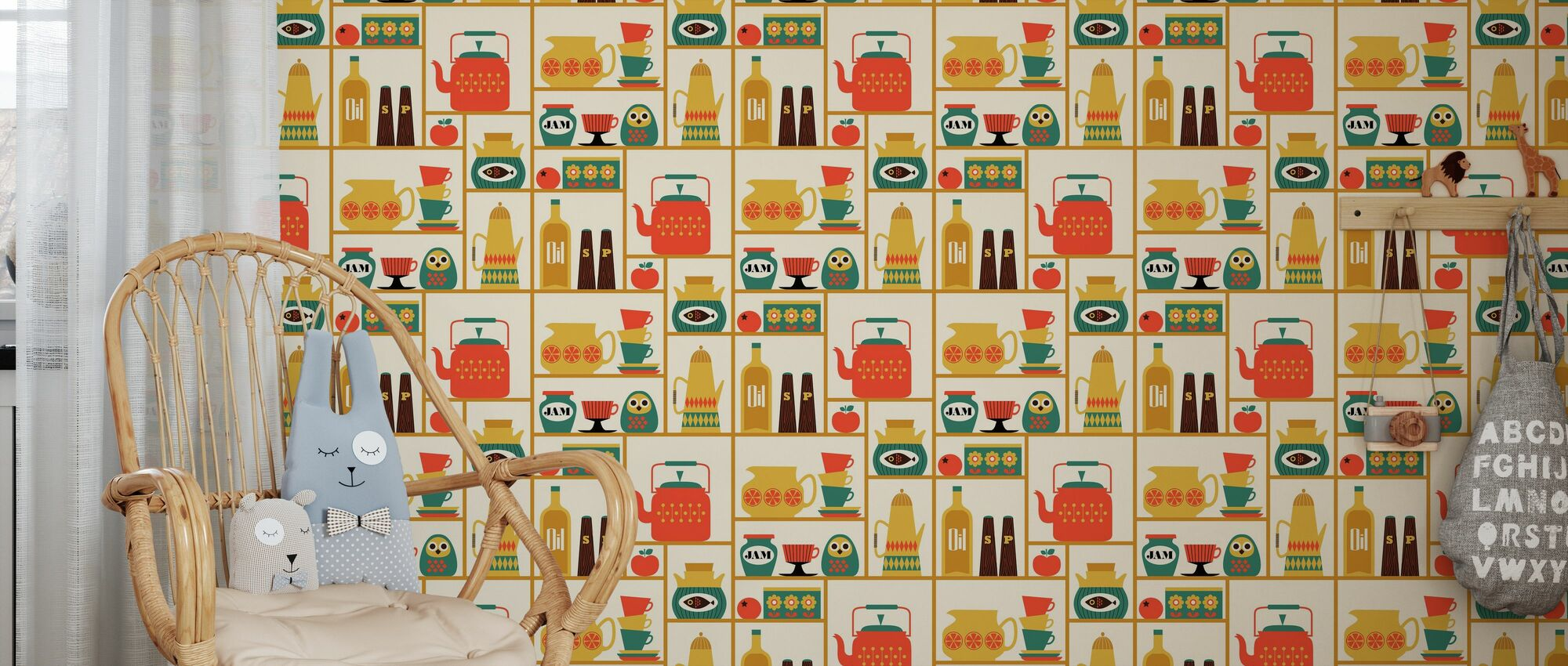 Kitchen Shelves - Yellow - Wallpaper - Kids Room