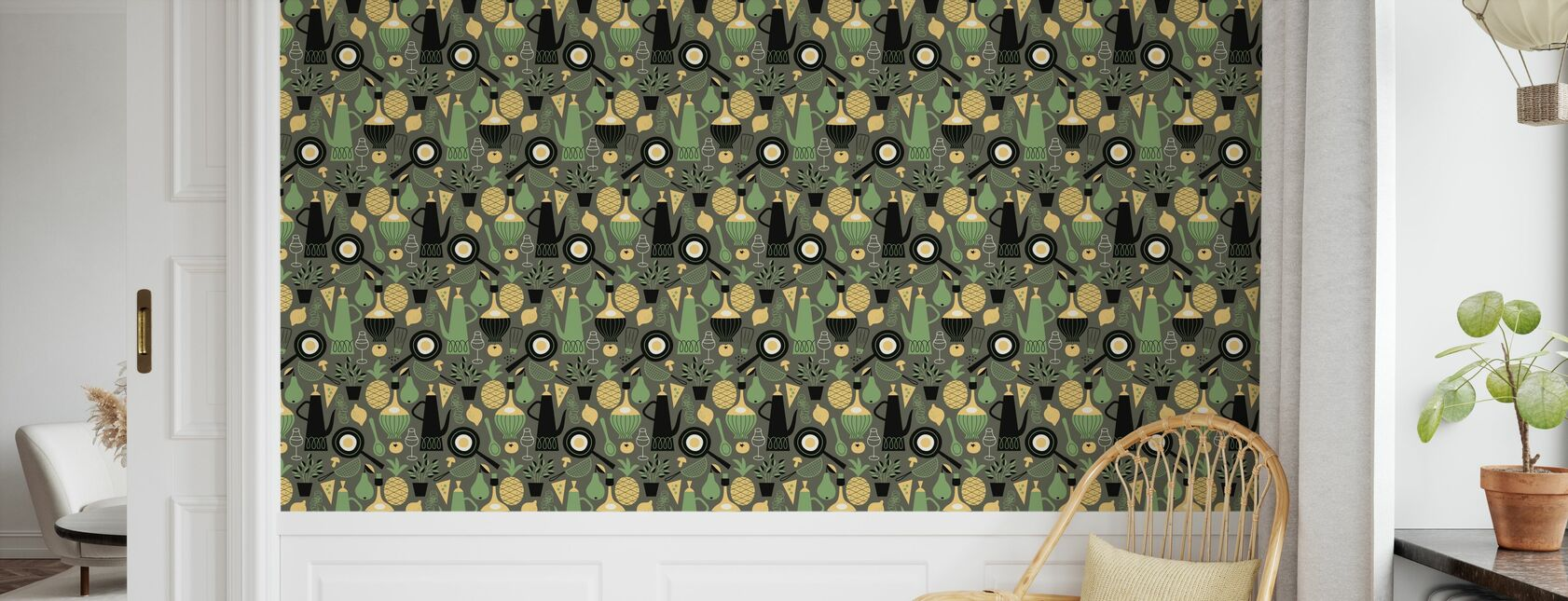 Pineapple & Pear - Dark Grey - Wallpaper - Kids Room