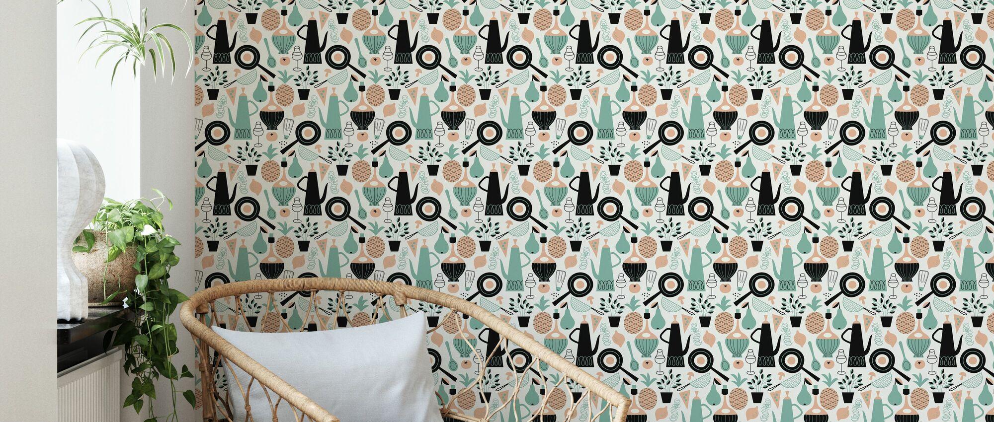 Pineapple & Pear - White - Wallpaper - Living Room