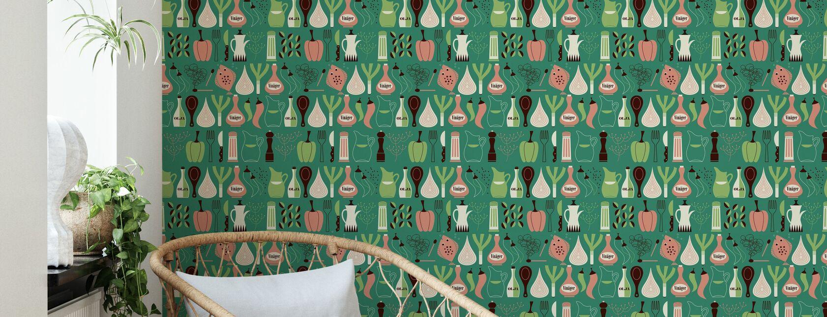 Vinegar - Green - Wallpaper - Living Room