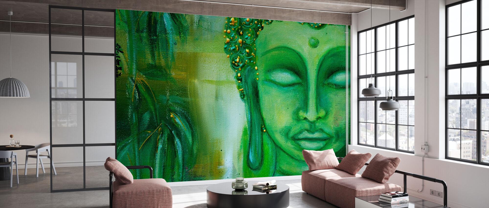 Buddha og grønne blade - Tapet - Kontor