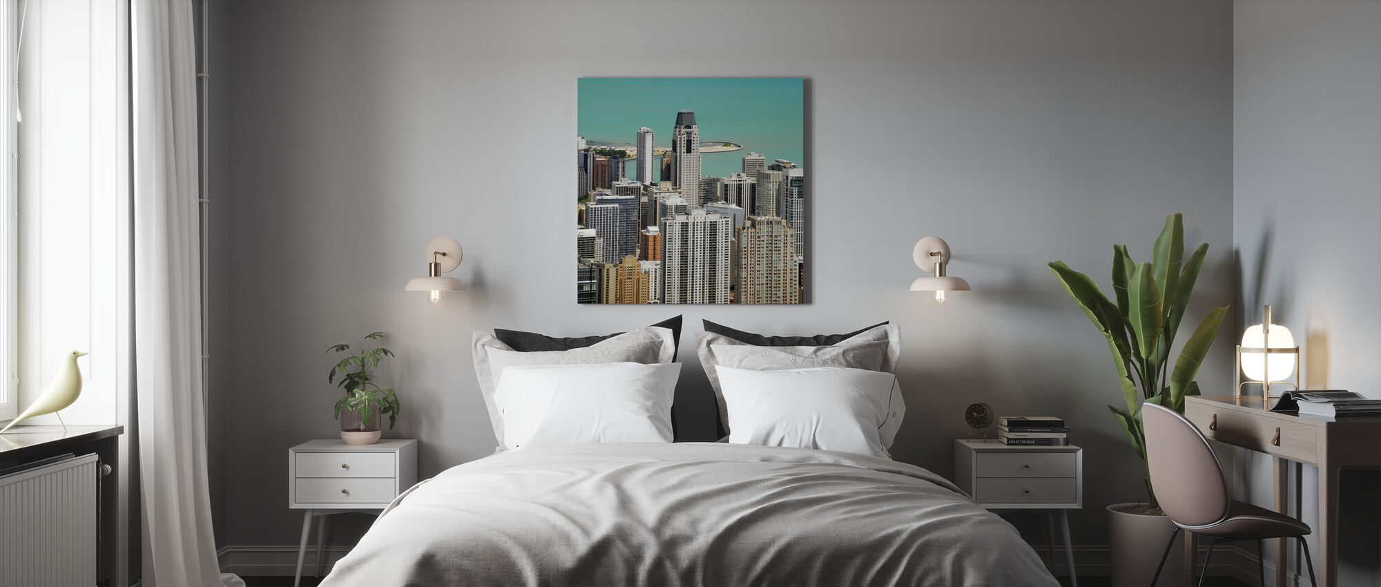 Chicago en Lake Michigan - Canvas print - Slaapkamer