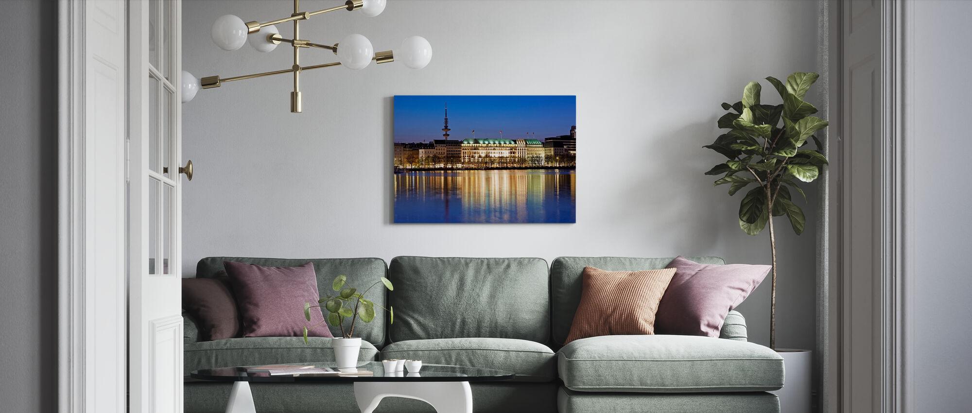 Hamburg Illuminated - Canvas print - Living Room