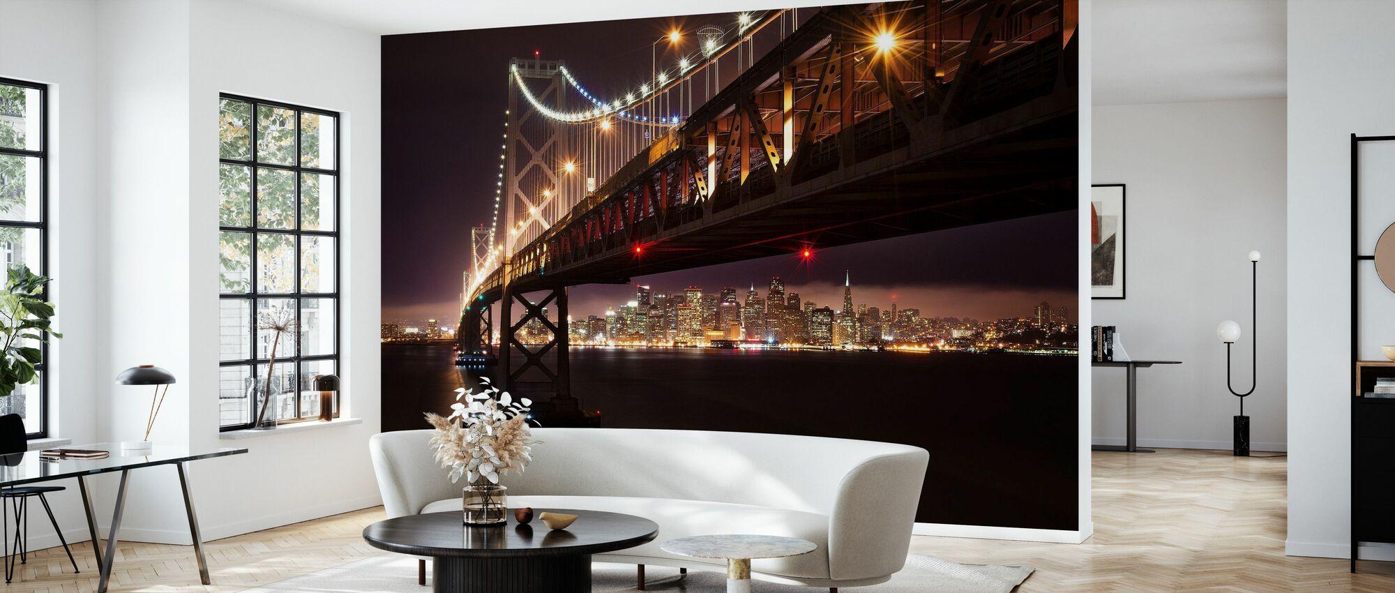 Bay Bridge in the Night - Wallpaper - Living Room