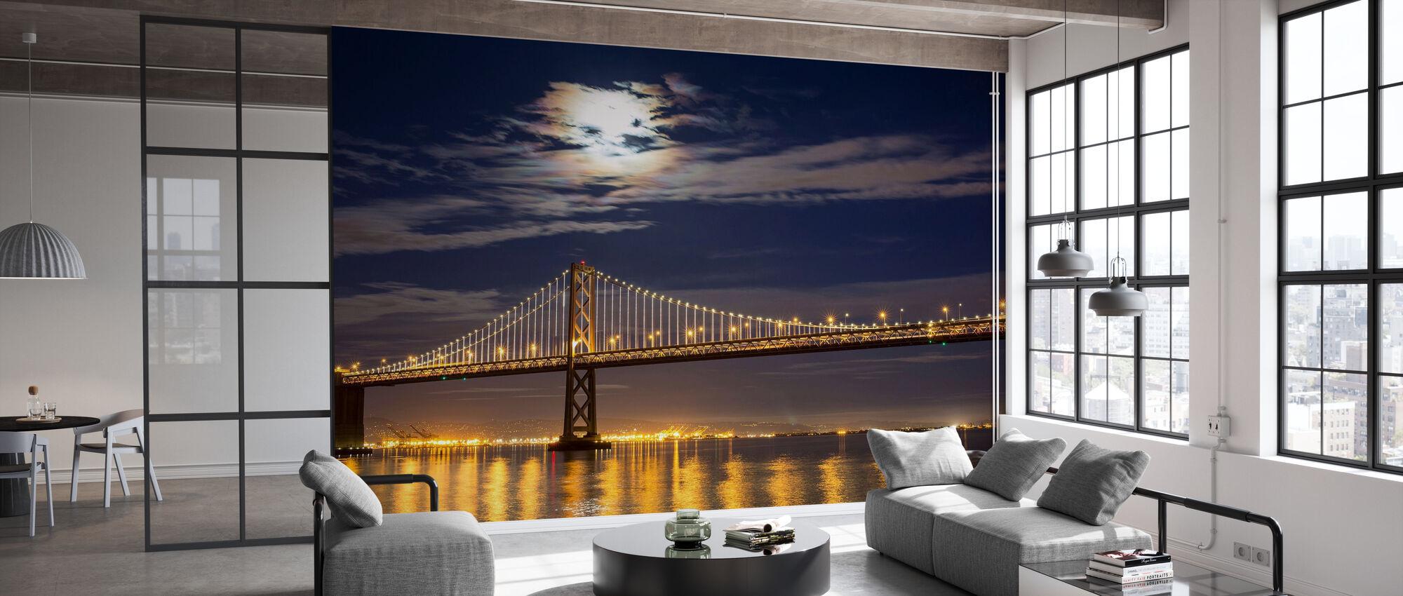 Moonrise over Bay Bridge - Wallpaper - Office