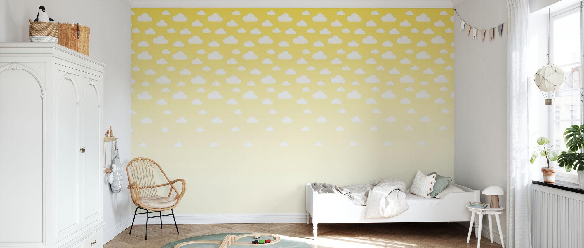 Cumulus - Yellow - Wallpaper - Kids Room