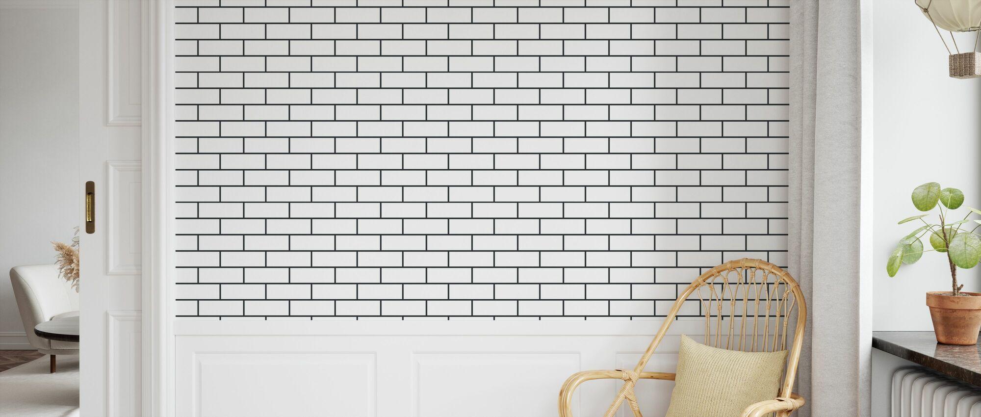 Tegel - Weiß Schwarz - Tapete - Kinderzimmer