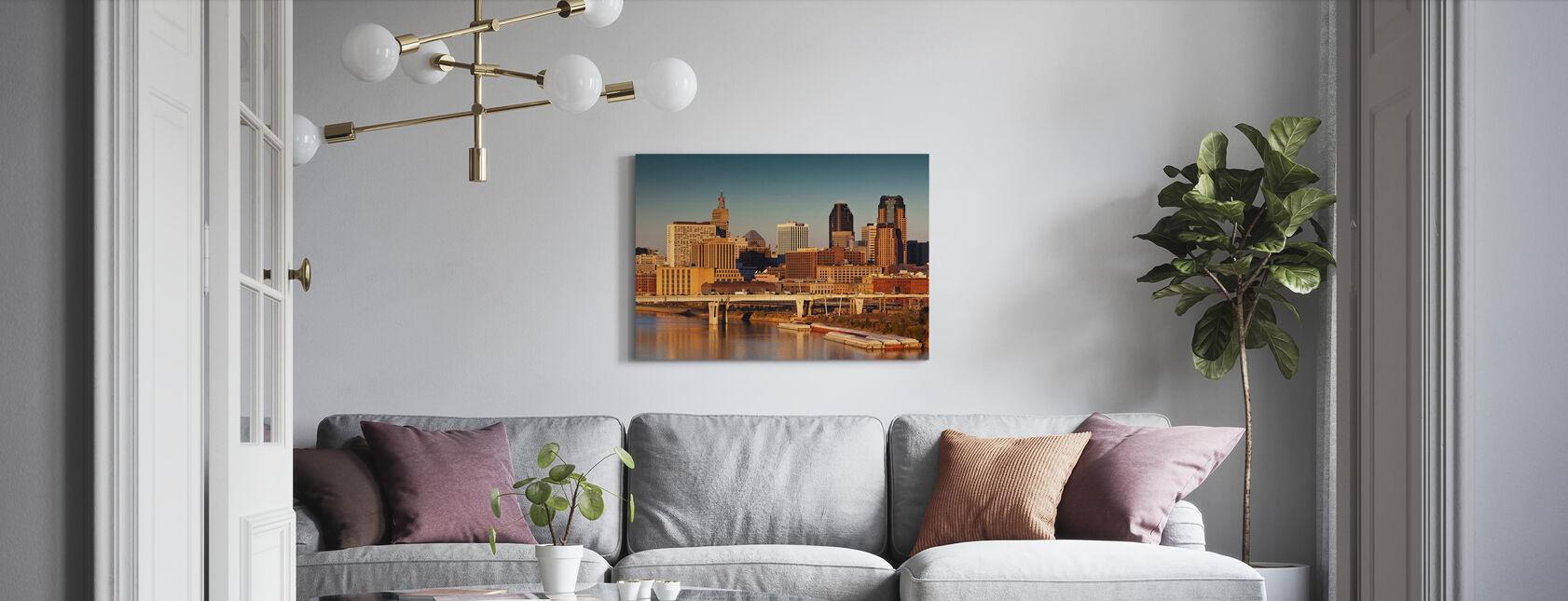 Zonsopgang in Minneapolis - Canvas print - Woonkamer