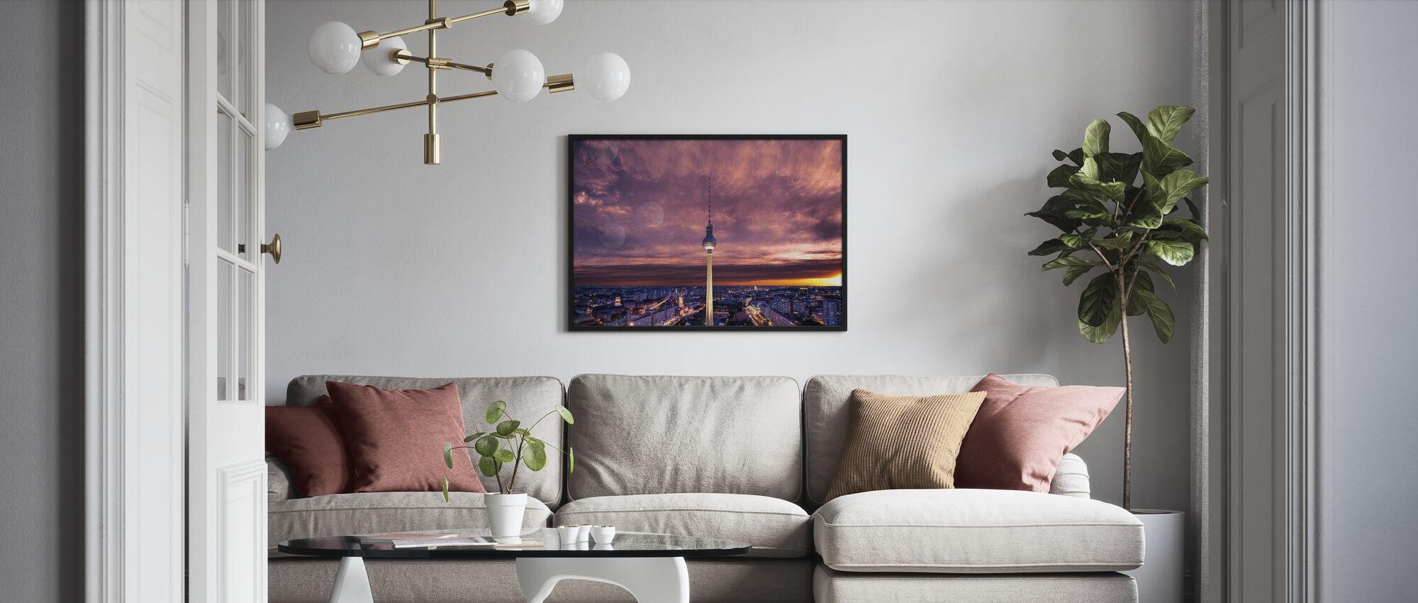 Tv-tower against Dramatic Sky - Framed print - Living Room