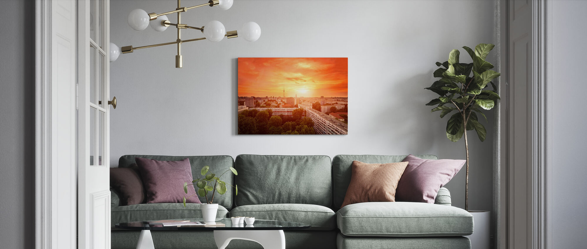 Glowing Sunset over Berlin - Canvas print - Living Room