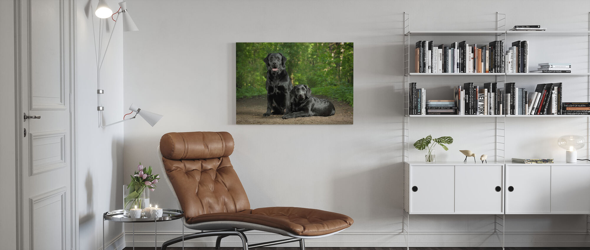 To sorte labradorer - Lerretsbilde - Stue