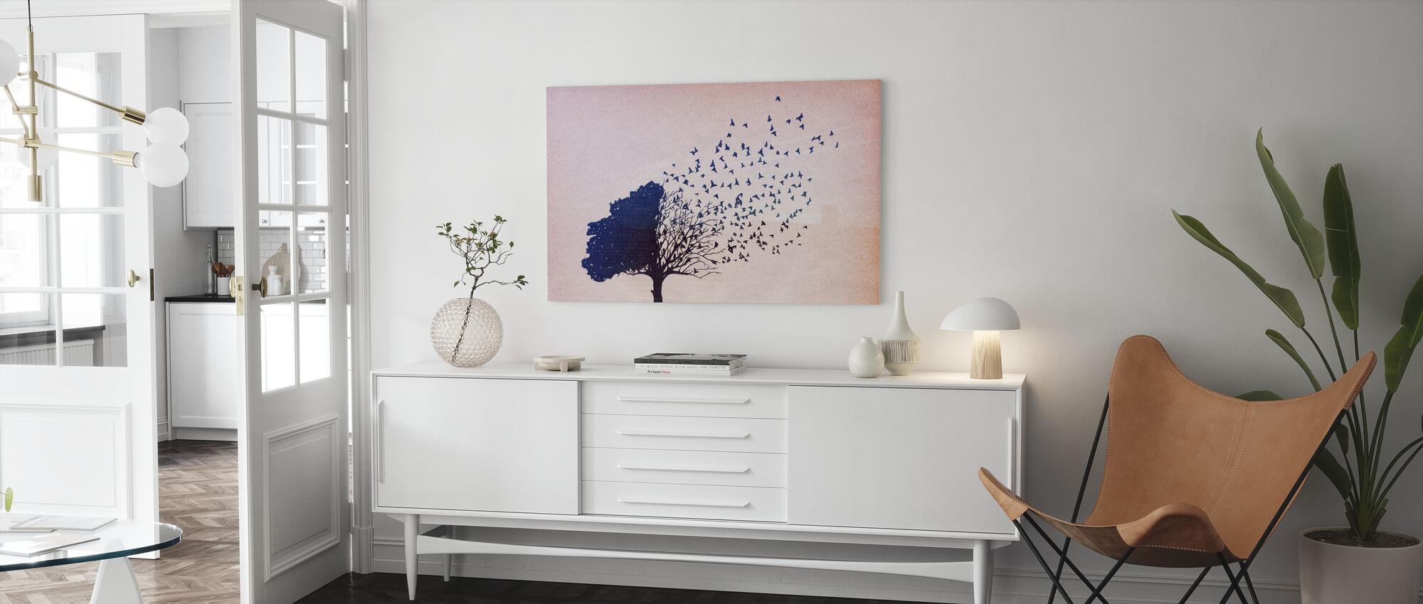 Fåglar Blad - Canvastavla - Vardagsrum
