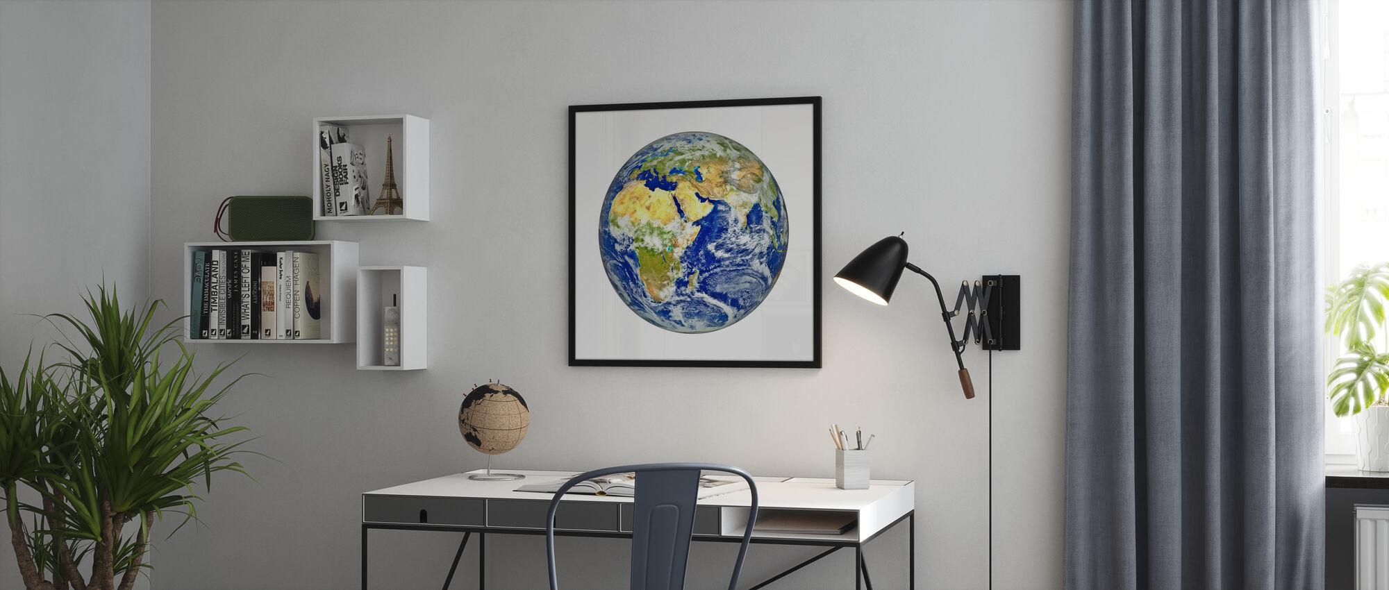 Aarde met Afrikaans en Aziatisch continent - Ingelijste print - Kantoor