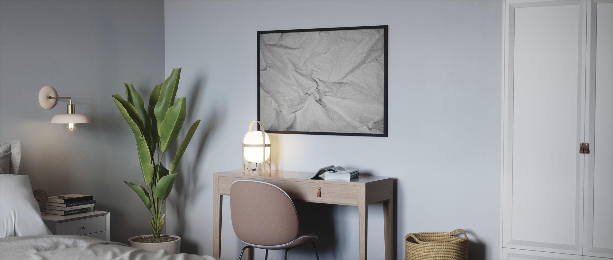 Rypistynyt paperi - Kehystetty kuva - Makuuhuone