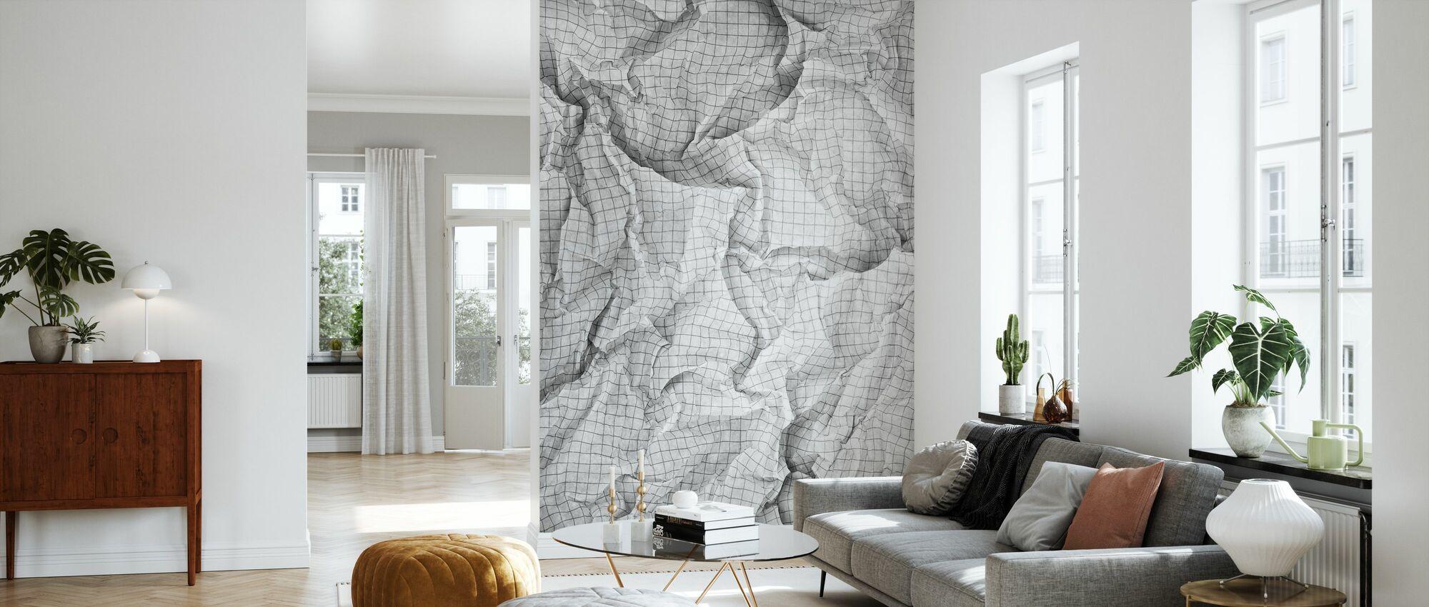 Wrinkled Squared Paper 2 - Wallpaper - Living Room