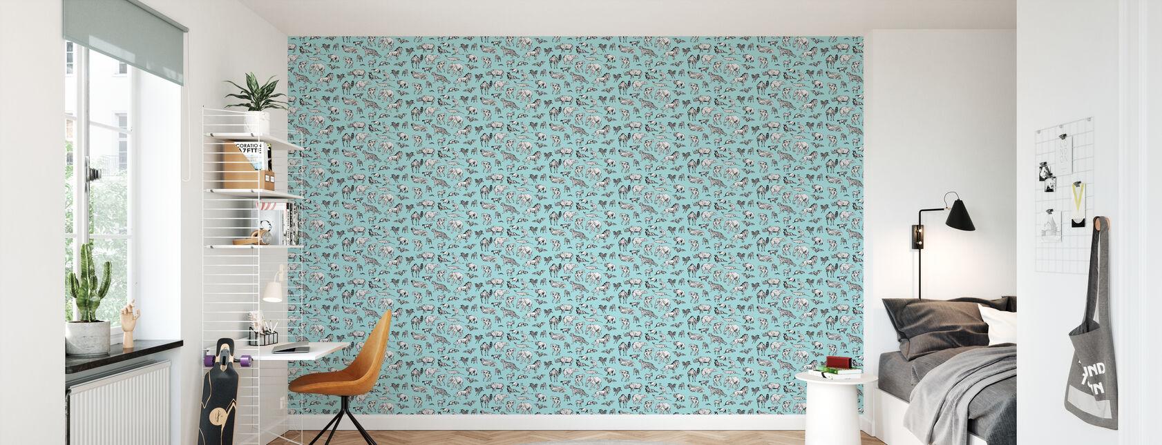 Veel Dieren Blauw - Behang - Kinderkamer
