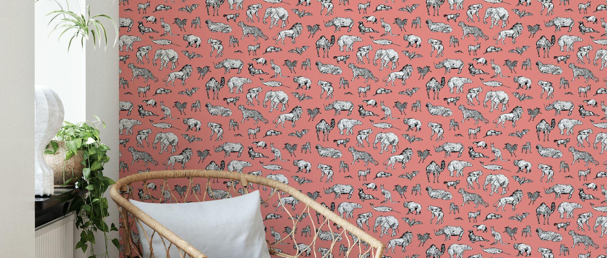 Lots of Animals Pink - Wallpaper - Living Room
