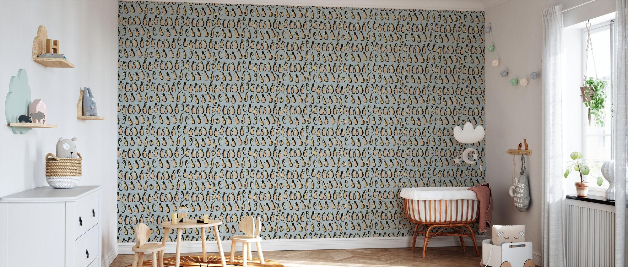 Penguin Apricot - Wallpaper - Nursery