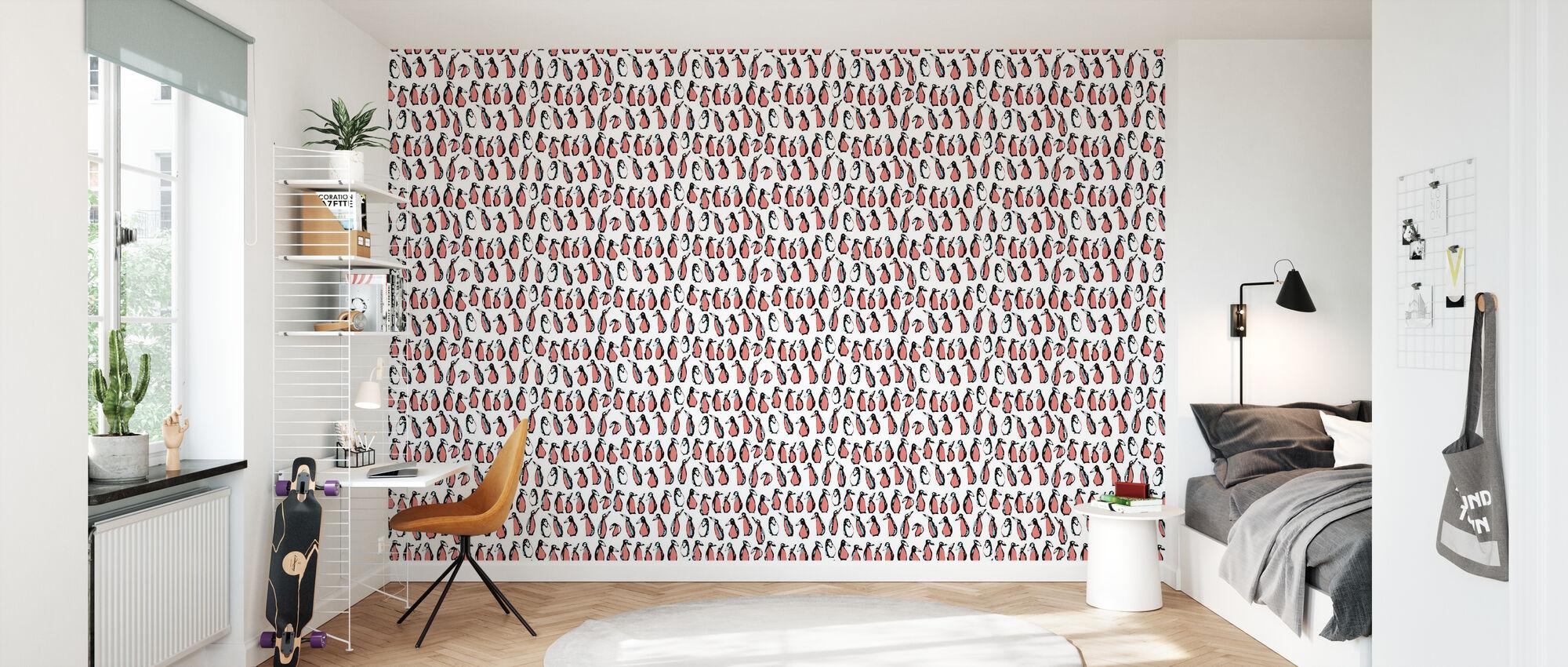 Pinguin Wilde Erdbeere - Tapete - Kinderzimmer