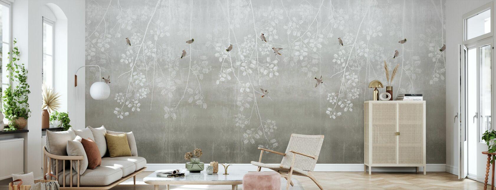 Czeskie ptaki - beżowy - Tapeta - Pokój dzienny