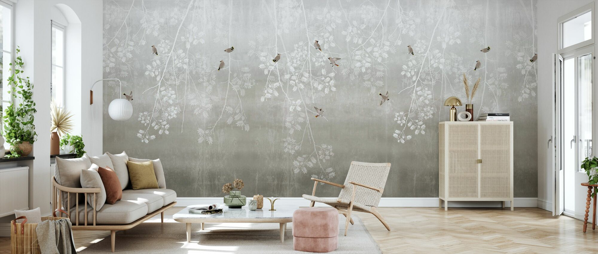 Bohemian Birds - Beige - Wallpaper - Living Room