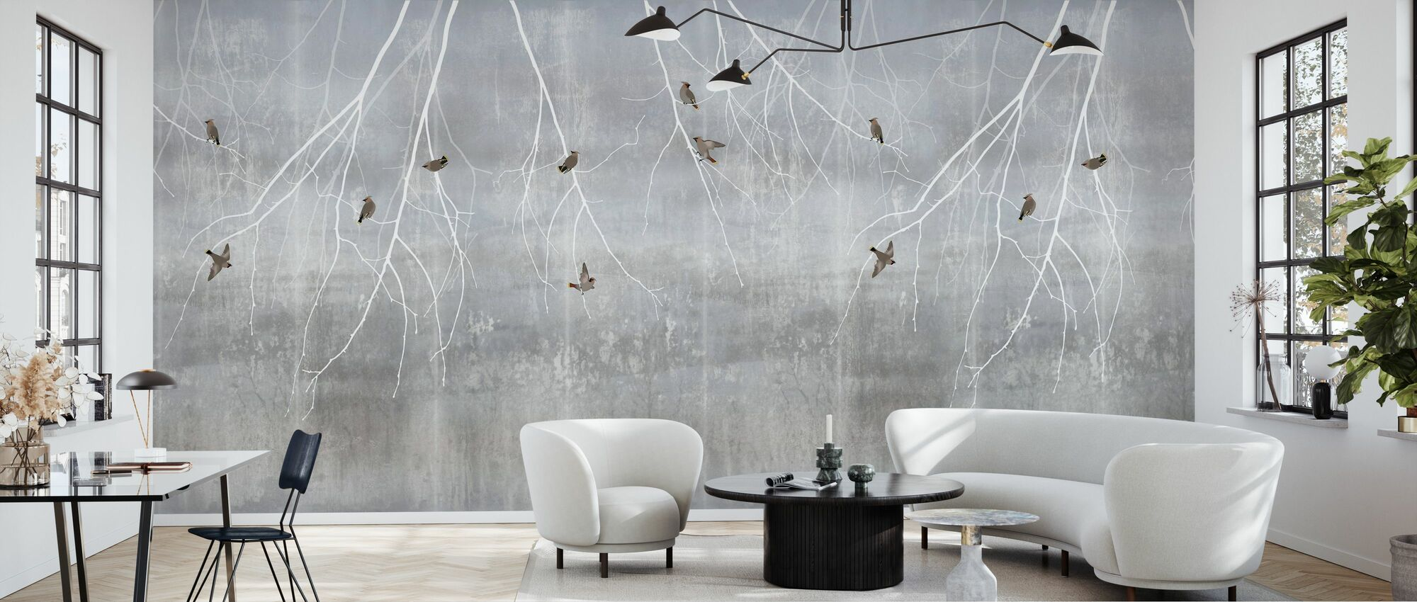 Bohemian Birds - Pale Blue - Wallpaper - Living Room