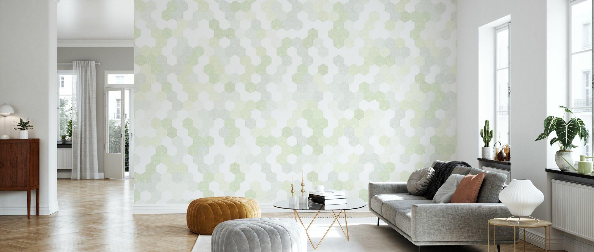 Hexagon - Grün - Tapete - Wohnzimmer