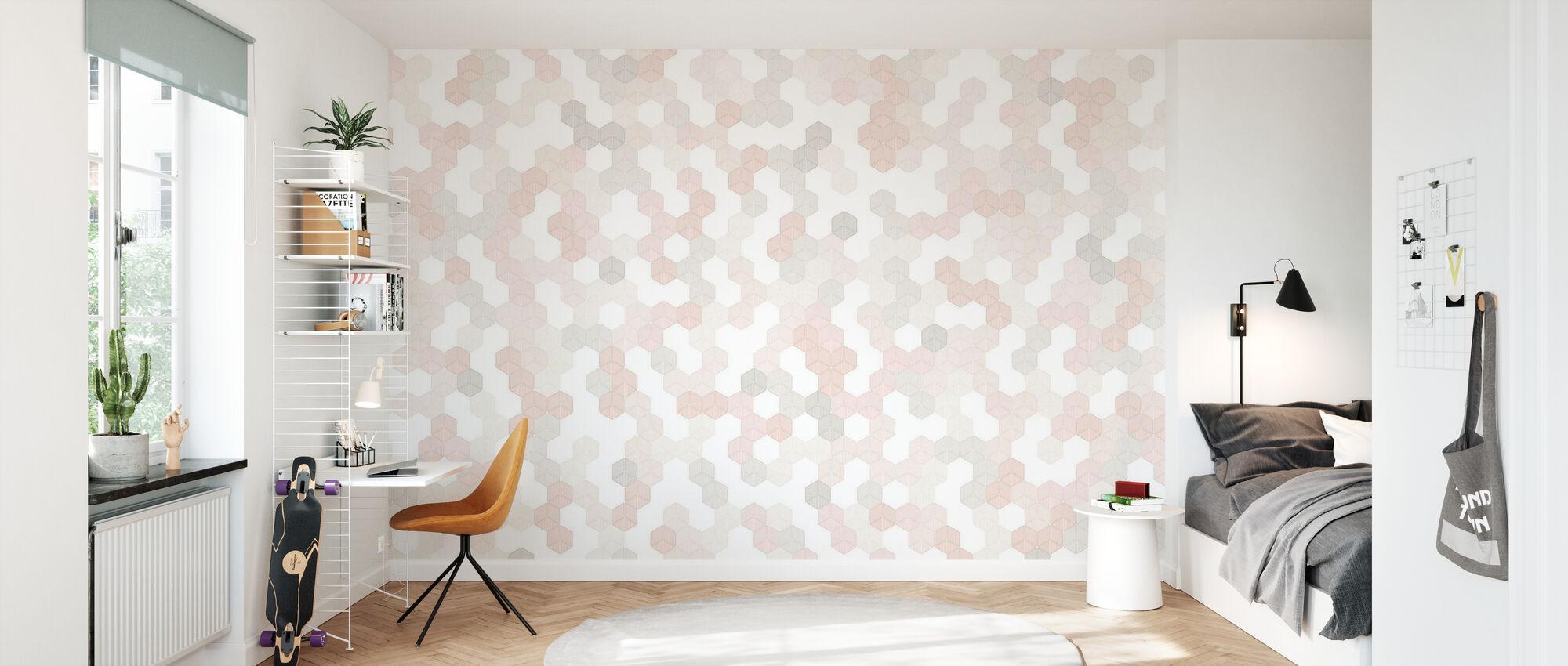 Hexagon - Rosa - Tapete - Kinderzimmer