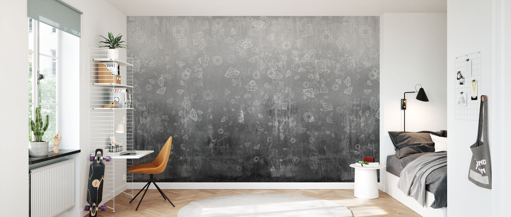 Lost Diamonds - Black - Wallpaper - Kids Room