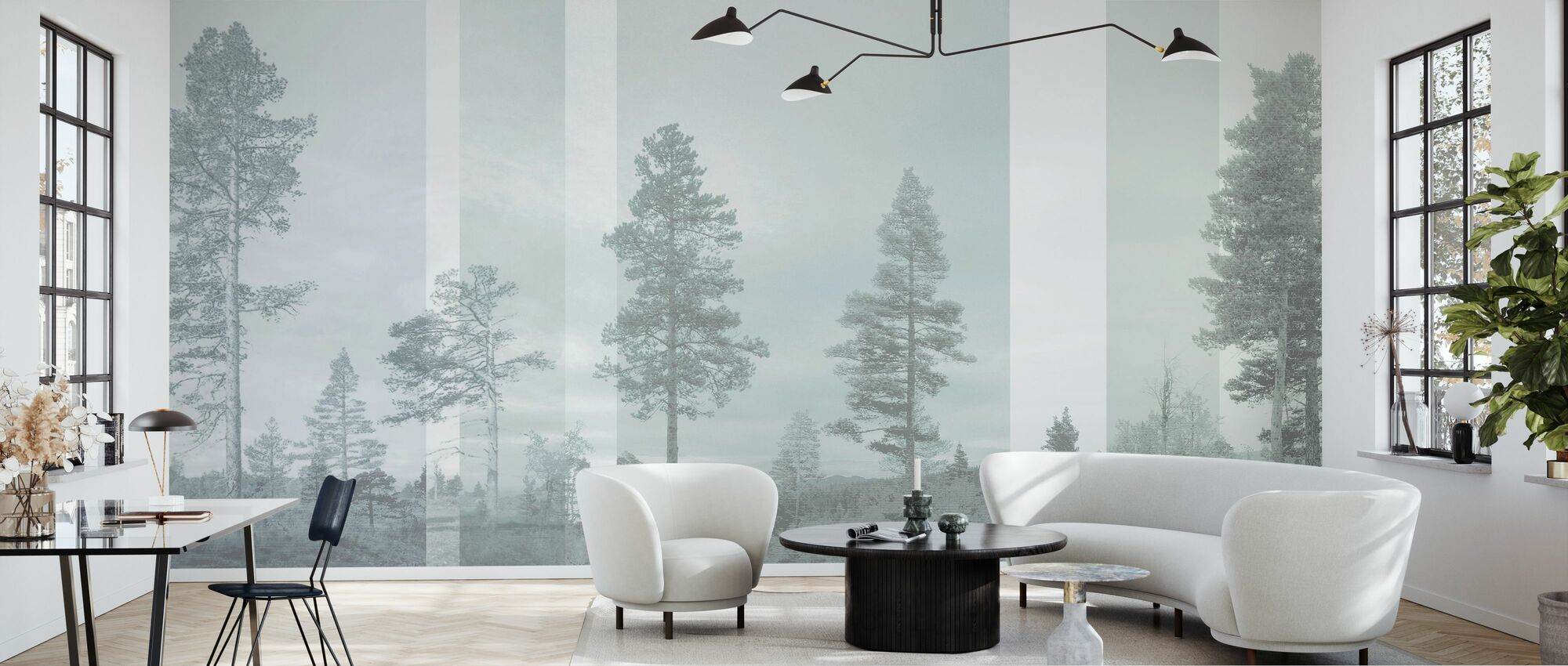 Panorama - blek Bluegreen - Tapet - Stue