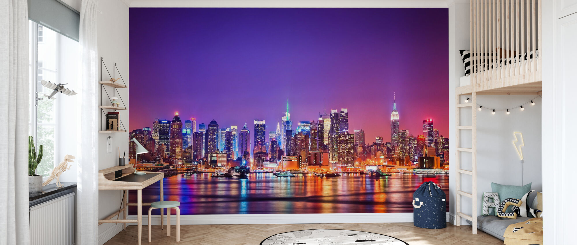 New York i rosa - Tapet - Barnerom