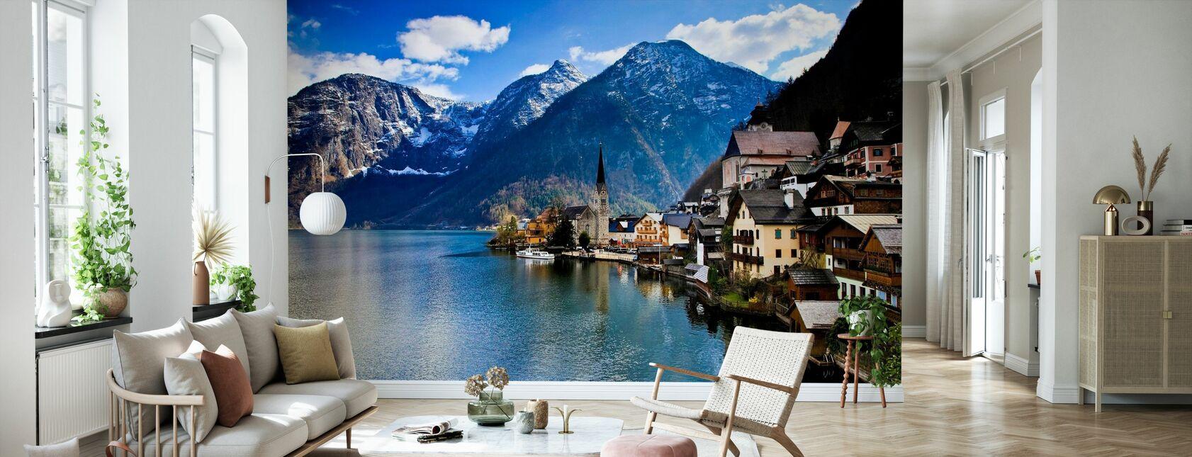 Small Austrian Mountain Village - Wallpaper - Living Room