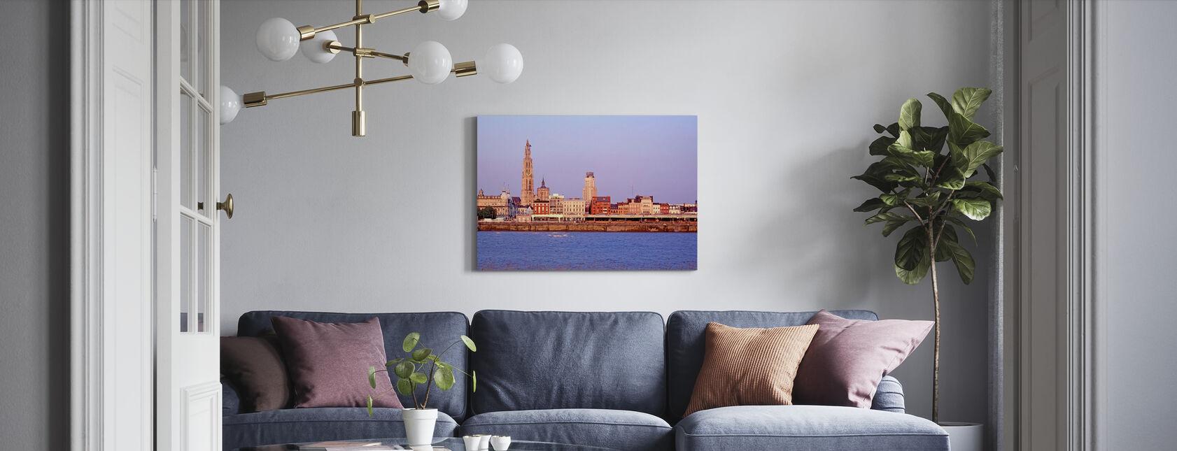 Antwerpen Skyline i Skumring - Lerretsbilde - Stue