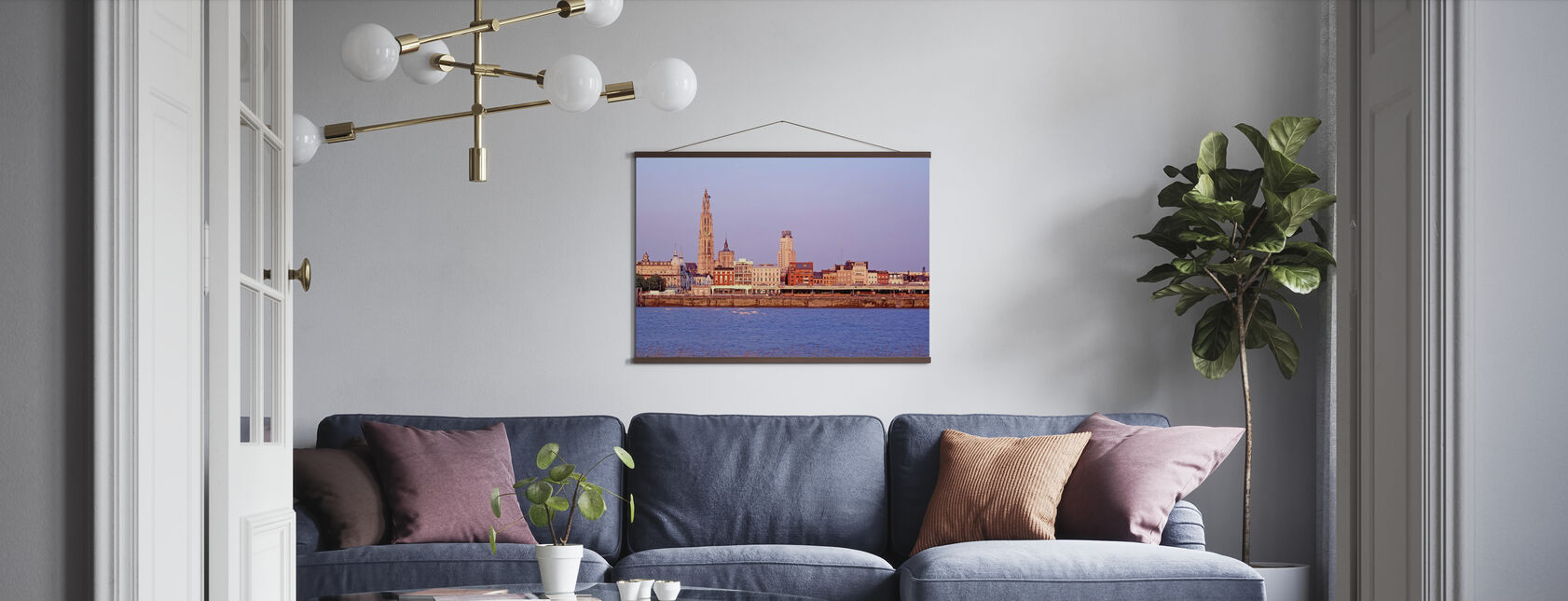 Antwerp Skyline at Dusk - Poster - Living Room
