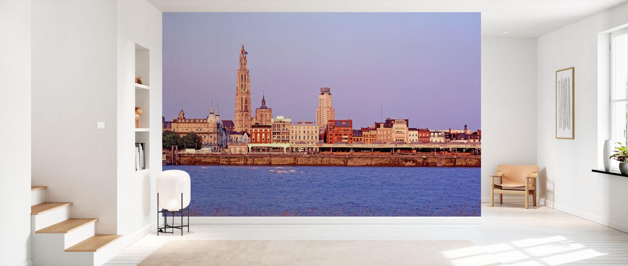 Skyline d'Anvers au crépuscule - Papier peint - Entrée