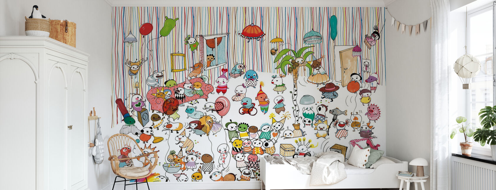 Motley Party 3 - Wallpaper - Kids Room