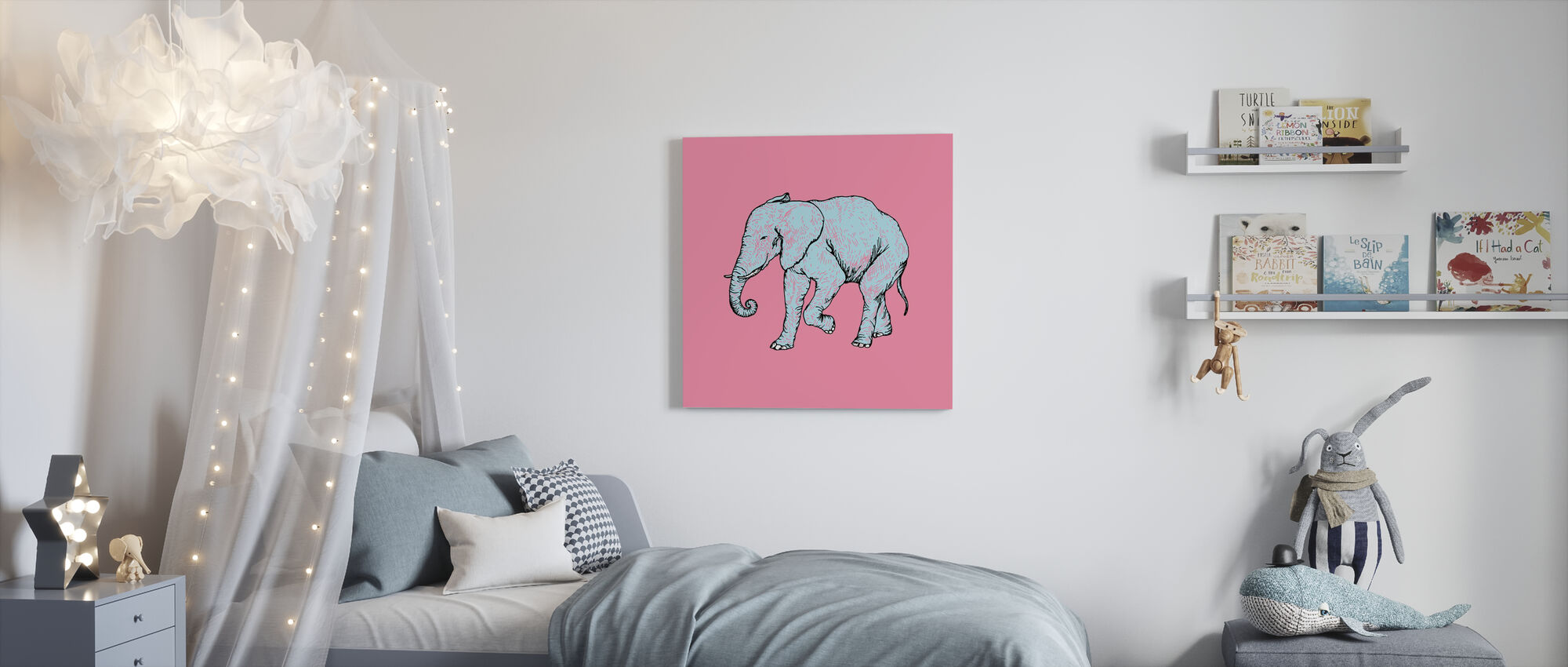 Elephant Bubblegum - Canvas print - Kids Room