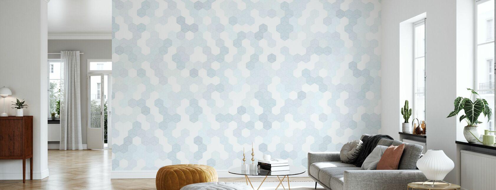 Hexagon - Blå - Tapet - Vardagsrum