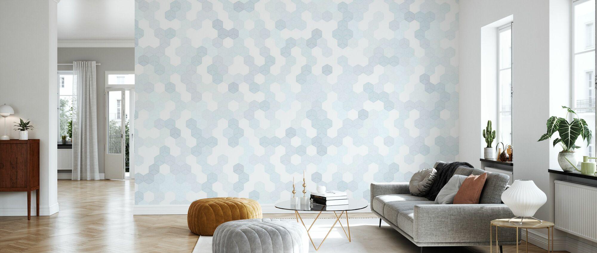 Hexagon - Blue - Wallpaper - Living Room