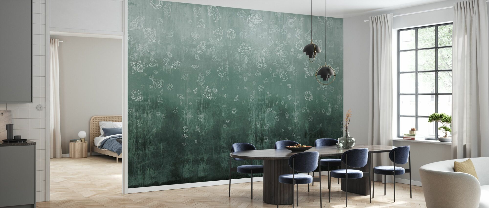 Lost Diamonds - Bluegreen - Wallpaper - Kitchen
