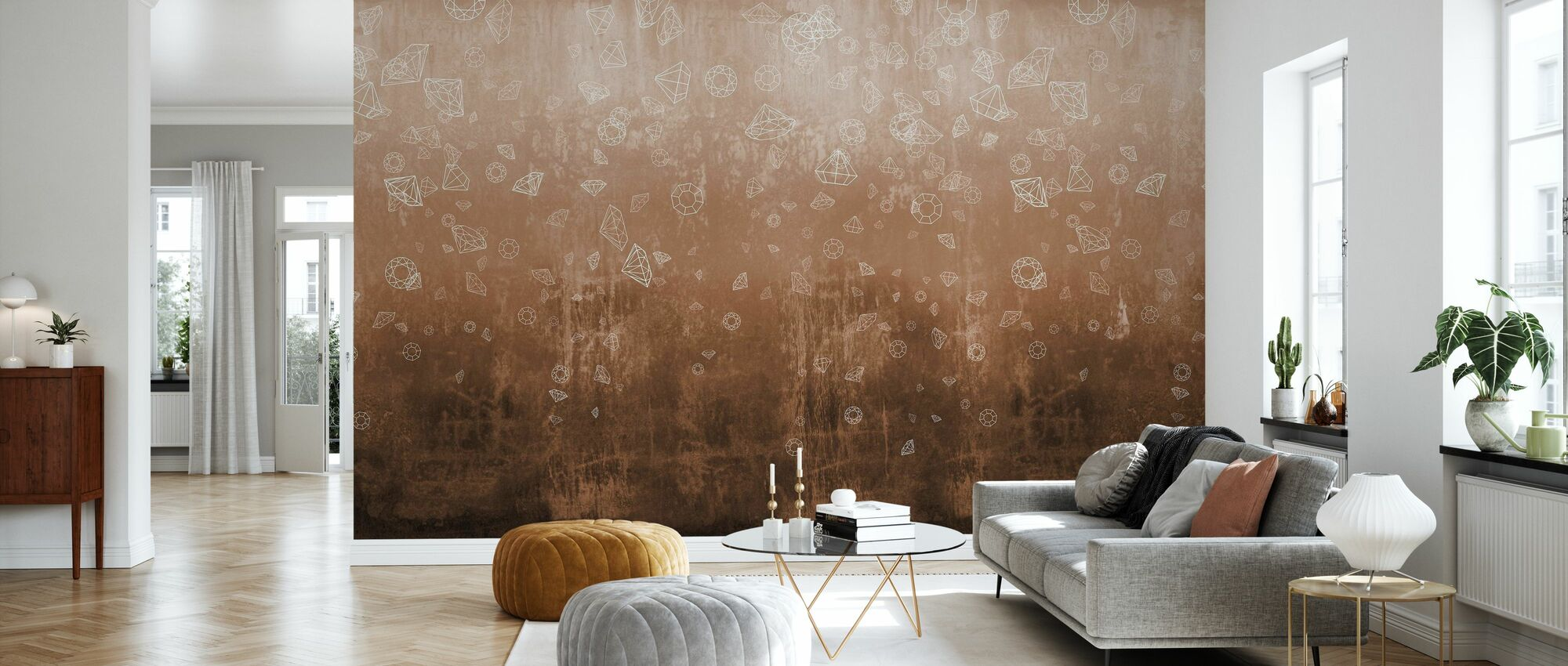 Lost Diamonds - Copper - Wallpaper - Living Room